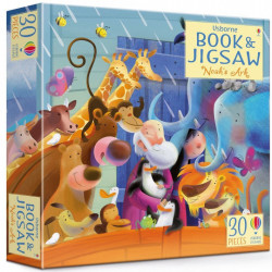 "Set Puzzle ""Noah's Ark picture book and jigsaw"" de Rob Lloyd Jones, 3 ani+, Usborne"