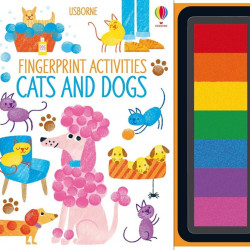 Carte cu tusiera pentru pictat cu degetele, Fingerprint Activities Cats and Dogs, Usborne