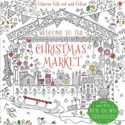 "Carte de colorat ""Welcome to the Christmas market"", 4 ani+, Usborne"