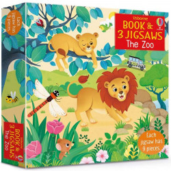 Carte cu trei puzzle-uri, book and 3 jigsaw the zoo