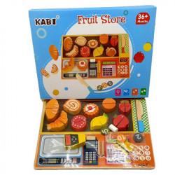 Joc de indemanare din lemn, vopsea non-toxica, cu fructe si casa de marcat, Kabi