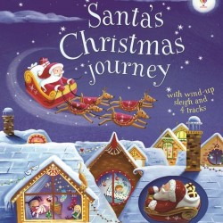 Santa's christmas journey with wind-up sleigh, Sania lui mos craciun, carte si jucarie, usborne