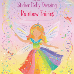 Carte cu stickere, Little Sticker Dolly Dressing Rainbow Fairy, Usborne, 3+