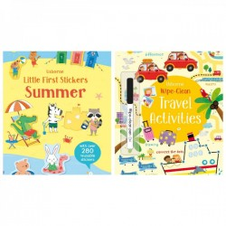 Pachet de vacanta, summer activity set, doua carti de activitati : Little First Stickers Summer + Wipe-Clean Travel Activities + semn de carte usborne