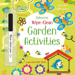 Carte de tip scrie si sterge la nesfarsit cu marker inclus, Wipe-clean garden activities, usborne