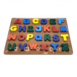 Puzzle educativ, incastru, din lemn - Alfabet, Litere mari de tipar, E-ducare