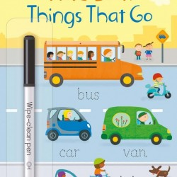 Usborne little wipe clean word book things that go, carte cu marker, de tip scrie și șterge la nesfârșit