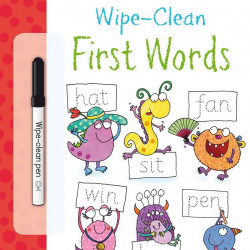 "Carte cu marker de tip ""scrie si sterge"", Wipe-clean First words, Usborne"