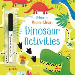 Carte de tip scrie si sterge la nesfarsit, cu marker inclus, Wipe-clean dinosaur activities, usborne