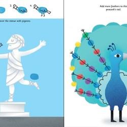 Fingerprint activities: Animals, carte cu tușiera, 7 culori, de pictat cu degetele, usborne