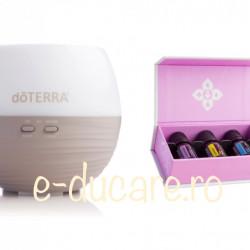 Pachet inteligent : difuzor Petal 2 aromaterapie + kit introductory, doterra, pentru discomfort sezonier, calmare, purificare, respiratie