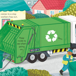 Peep Inside How a Recycling Truck Works Lara Bryan, Usborne, 3+