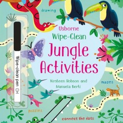 "Carte cu marker de tip ""scrie si sterge"", Wipe-clean jungle activities, Usborne"