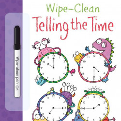 "Carte cu marker de tip ""scrie si sterge"", Wipe-clean telling the time, Usborne"