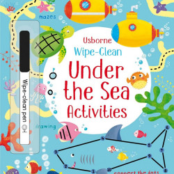 Carte de tip wipe and clean, cu marker inclus, Wipe-clean under the sea activities, Usborne