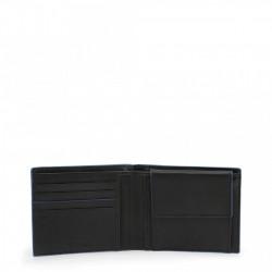 Set curea si portofel, barbati, Made in Italia, LUCIO, Negru/Albastru