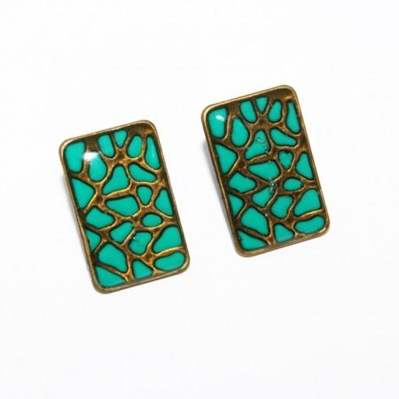 "Cercei bronz ""Animal print"" - verde"