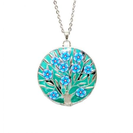 """Colier pandantiv rasina """"Un copac cu flori"""" - verde"""