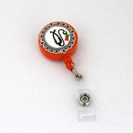 Accesoriu ecuson orange, retractabil, personalizat cu pastiluta fimo rosie