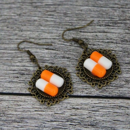 Cercei pastilute orange