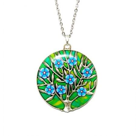"Colier pandantiv rasina ""Un copac cu flori"" - verde&galben"