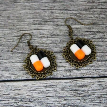 Cercei pastilute orange&negru
