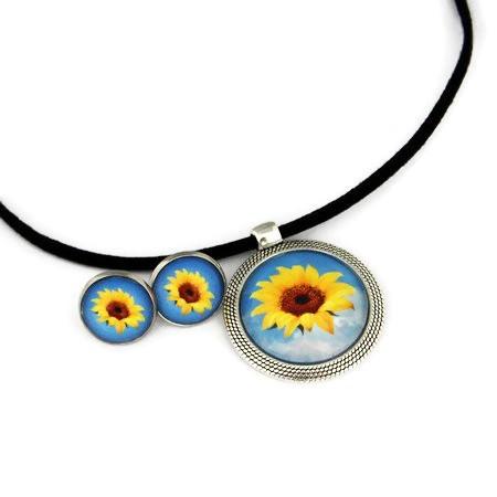 """Set bijuterii """" Floarea soarelui"""" - snur faux suede"""