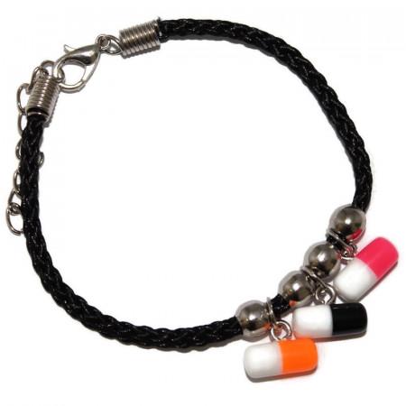 Bratara cu pastilute din rasina colorate si snur negru