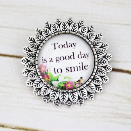 "Poze Brosa sun flower cu mesaj personalizat ""Today is a good day to smile"""