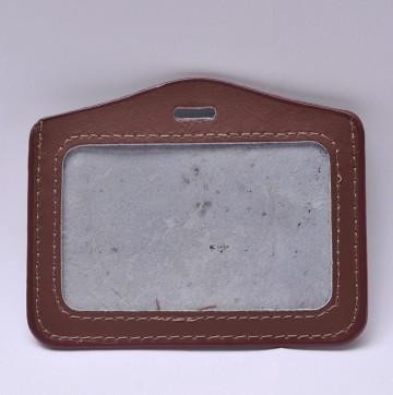 Suport ecuson, orizontal, piele maro, 100 x 80 mm