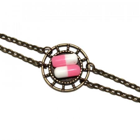 Bratara model rotund cu pastilute roz din rasina