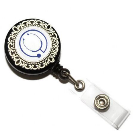Accesoriu ecuson stetoscop albastru - baza argintie cu model floral