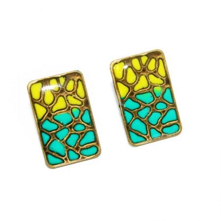 "Cercei bronz ""Animal print"" - verde&galben (orizontala)"