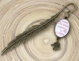 Semn de carte - pana bronz cu mesaj personalizat
