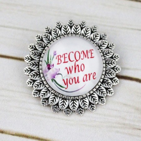 "Poze Brosa sun flower cu mesaj personalizat ""Become who you are"""