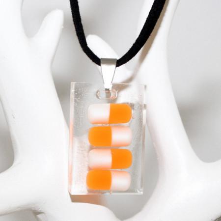 Colier pandantiv rasina, dreptunghiular cu pastilute colorate