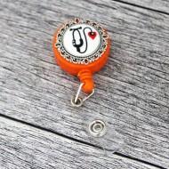 Accesoriu ecuson orange, retractabil, personalizat cu stetoscop, fimo