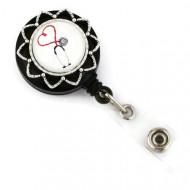 Accesoriu ecuson stetoscop cu fundal alb - stea argintie