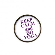"Brosa cu mesaj personalizat ""Keep calm and do yoga"""