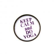"Brosa cu mesaj personalizat ""Keep calm and do yoga"""