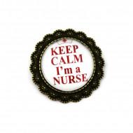 """Brosa floricica, bronz, personalizata - """"Keep calm, I'm a nurse"""""""