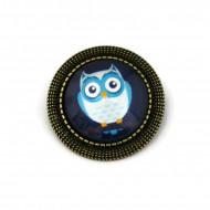 Brosa personalizata cu bufnita albastra
