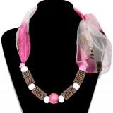 Colier esarfa roz&alb