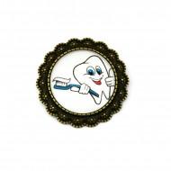 Brosa floricica, bronz, personalizata pentru domeniul stomatologic