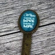 """Semn de carte, cheie gradata, bronz, cu mesaj personalizat - """"Where there is love"""""""