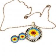 """Set bijuterii """" Floarea soarelui"""" - lant inox"""