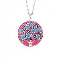 "Colier pandantiv rasina ""Un copac cu flori"" - roz"