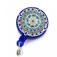 Accesoriu ecuson, personalizat cu mandala albastra