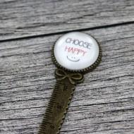 "Semn de carte rigra bronz, cu mesaj personalizat - ""Choose happy"""
