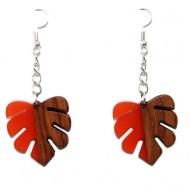 Cercei frunze din lemn cu rasina orange
